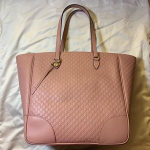 🌸NWT Gucci 449242 Micro GG Pink Leather Tote Bag